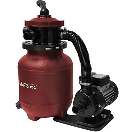 Miganeo 40385 Sandfilteranlage Dynamic 6500 Pumpleistung 4,5m³ blau, grau, schwarz, grün für Pool Schwimmbecken (Rot)