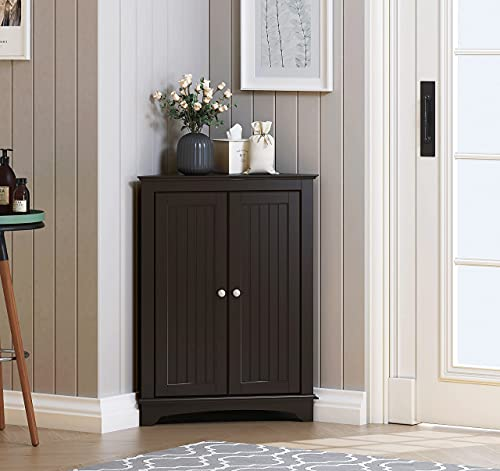 Spirich Home Floor Corner Cabinet with Two Doors and Shelves, Free-Standing Corner Storage Cabinets for Bathroom, Kitchen, Living Room or Bedroom, Espresso…