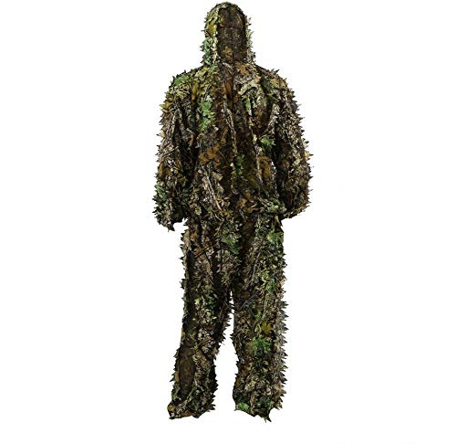 3D Ghillie Suits Leaves Woodland Camouflage Kleidung Leaf Camouflage Jacke Camo Army Military Dschungelanzug für die Jagd Paintball Airsoft Wildlife Photography Halloween
