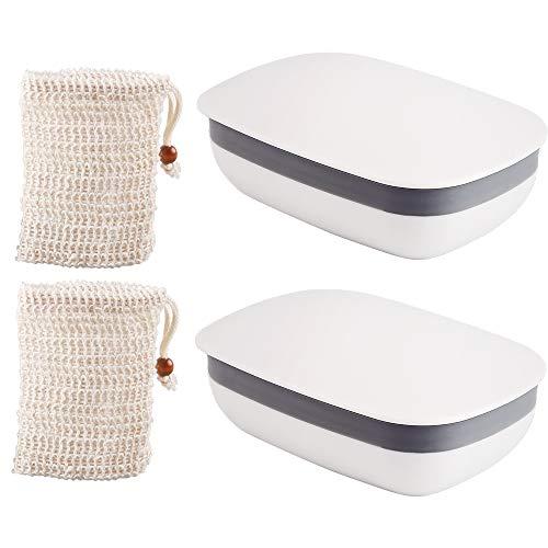 Vegena Seifendose, 2 Stück Seifenschalen Box mit Abdeckung und 2 Stück Seifensäckchen Sisal, Aufschäumen der Seife für Badezimmer Reise Camping