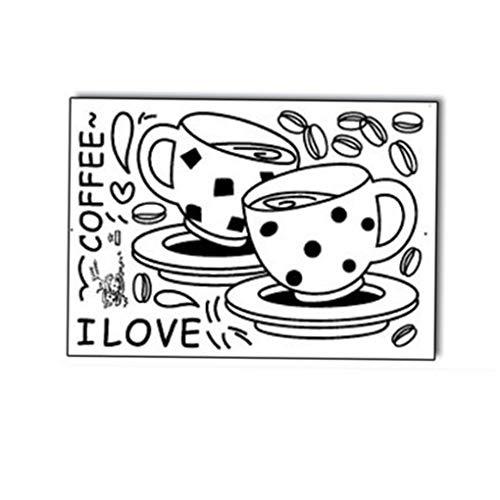 Xinjieda Negro Patrón de Dibujos Animados Taza de café de la Pared del PVC Impermeable extraíble decoración de la Etiqueta engomada Inicio