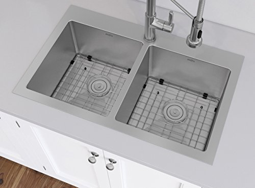 Ancona AN-3125 Handmade Prestige Series Drop-in Stainless Steel 30 in. 1-Hole 50/50 Double Basin Kitchen Sink with Grids and Strainers