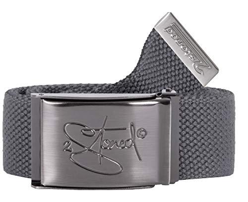 2Stoned Stoffgürtel Dark Grey 4 cm breit mit Matter Schnalle 135 cm lang, Koppelgürtel für Damen und Herren