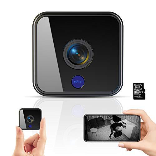 Mini Kamera,1080P HD Überwachungskamera Micro WiFi Akku Kleine Kamera mit Infrarot Nachtsicht, Bewegungserkennung und 32G SD-Karte Kabellose für den Außen- und Innenbereich