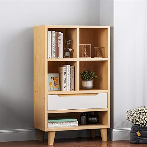 Étagère en bois 4 niveaux à 3 niveaux avec tiroir pour étagère de rangement pour bureau à domicile Présentoir 4 étagères à manger Mobilier de salle de séjour Étagère sur pied Petite bibliothèque