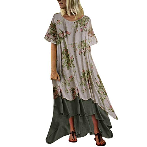 Lowest Prices! Kariwell Women Dresses - Summer Print Patchwork Short Sleeve O-Neck Vintage Maxi Plus...