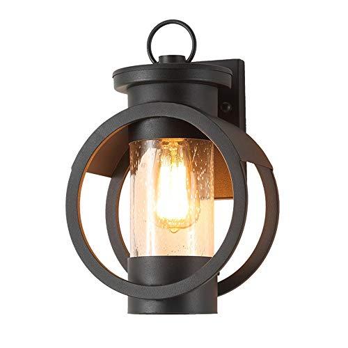 DYHOZZ Lámpara LED 220V Moderna de Hierro Forjado de Pared Exterior Lámpara de Pared de Cristal a Prueba de Agua for Villa Patio ala del balcón de iluminación, 23 × 35 cm