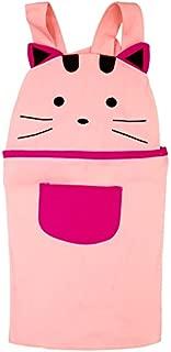 Cotton Kid Girls Apron Cute Cartoon Cat Apron Children Apron Chef Kitchen Cooking Baking Apron for Kids (Pink)