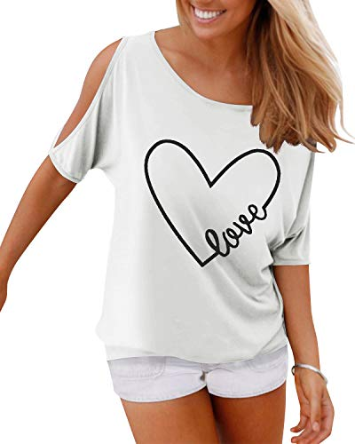 YOINS Bluse Damen Kurzarm Schulterfrei Oberteil Damen Off Shoulder Top Sommer Carmen Shirt Feder Love-weiß S