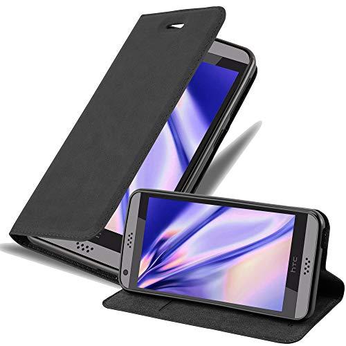 Cadorabo Hülle für HTC Desire 530/630 - Hülle in Nacht SCHWARZ – Handyhülle mit Magnetverschluss, Standfunktion & Kartenfach - Case Cover Schutzhülle Etui Tasche Book Klapp Style