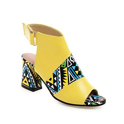 Damen Sandalen Mode Drucken Riemchensandale Römersandale Sandalette Slingback Fischmaul Peeptoe Pumps High Heels Sommer Sandals Freizeitschuhe(1-Gelb/Yellow,35) 1129