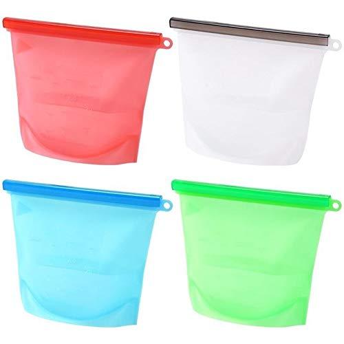 Almacenamiento de cocina herramienta de cocina 4pcs reutilizable silicona preservación de alimentos bolsa hermético contenedor de almacenamiento de alimentos versátil bolsa de cocina