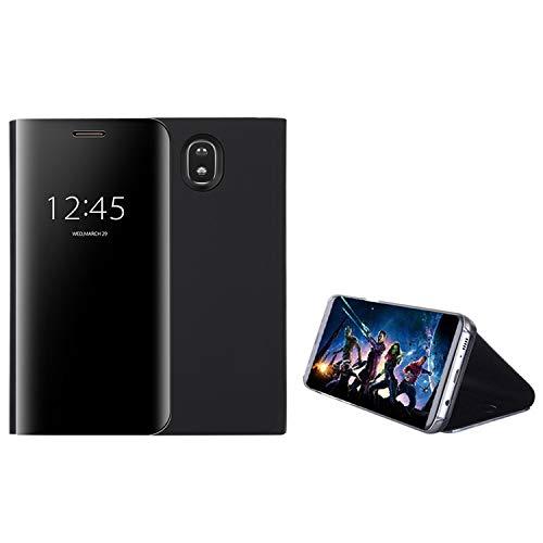 COOVY Funda para Samsung Galaxy J7 SM-J730GM / SM-J730F/DS (Model 2017) / J7 Pro Aspecto metálico, armazón, Lujosa, Ventana de Espejo Transparente, visión Clara, Soporte | Color Negro
