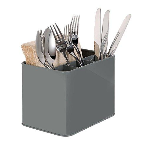 G.A HOMEFAVOR Utensilienhalter, Edelstahl, Küchenorganizer, 4 Fächer, Besteck, Besteck, Besteck, Aufbewahrung für Zuhause und Restaurant (grau)