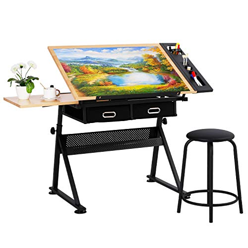 BAHOM Drafting Table with Drawers and Height Adjustable, Drawing Desk with Stool Tiltable Tabletop for Adults, Artists and Architecture - Wood