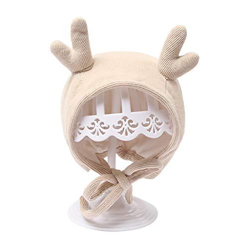 Mütze für Neugeborene, Winter, warm, Elch-Ohren, Beanie-Mütze, Ohrenschutz, einfarbig, für Neugeborene