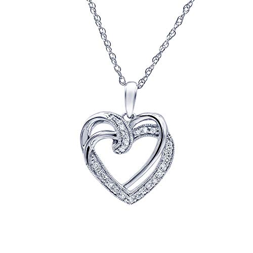 1/4 Carat Surface Prong Set Sterling Silver Double Heart Pendant Necklace In Lab Grown Diamonds (Diamond Quality I SI1) by Grown Brilliance