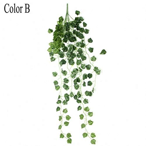 Artificial Flowers 90cm Artificial Vine Plants Hanging Ivy Green Leaves Garland Radish Seaweed Grape Fake Flowers Home Garden Wall Decor MDYHJDHYQ (Color : Green, Size : B)