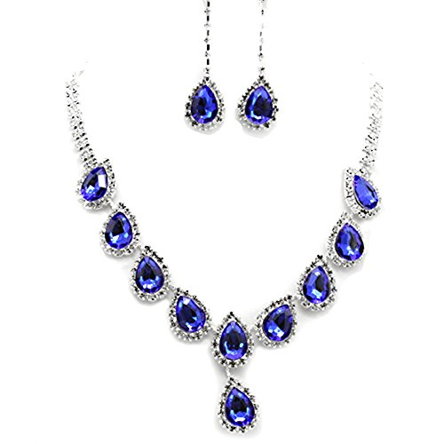 YAZILIND Rhinestone Chunky Pendiente Dangel Collar Gargantilla Plata del Cristal Plateado Azul Determinado de la joyería de la Mujer