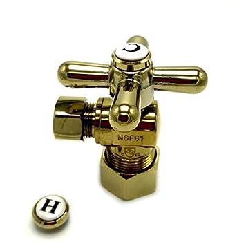 Kingston Brass CC53302X Vintage 5/8-Inch x 3/8-Inch OD Comp Angle Stop Polished Brass