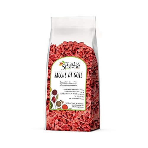 Bacche di goji senza zucchero aggiunto 500 g - goji berries 100% naturale super food - frutta secca, ideale per perdita di peso e mix con fiocchi di avena, semi di zucca, lino, chia - Italia Spezie