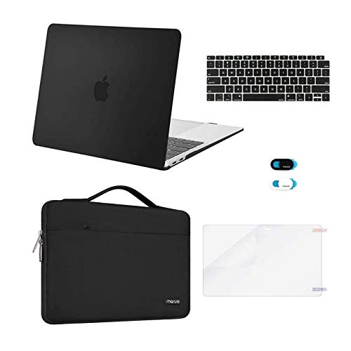 MOSISO MacBook Air 13 inch Case 2020 2019 2018 Release A2337 M1 A2179 A1932,Plastic Hard Case&Bag&Keyboard Skin&Webcam Cover&Screen Protector Compatible with MacBook Air 13 inch Retina, Black