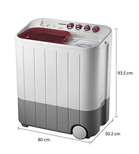 Samsung 6.5 kg Semi-Automatic 5 Star Top Loading Washing Machine (WT667QPNDPGXTL, White and Maroon, Double Storm Pulsator) 2