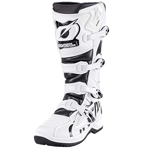 O'NEAL | Motocross-Stiefel | Enduro Motorrad | Anti-Rutsch Außensohle für maximalen Grip, Ergonomischer Fersenbereich, Perforiertes Innenfutter | Boots RMX | Erwachsene | Schwarz-Weiß | Größe 43