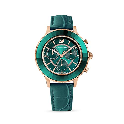 Swarovski Octea Lux Chrono Uhr, Lederarmband, Grün, Rosé vergoldetes PVD-Finish