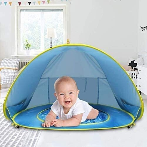 XCJJ Pop Up Baby Beach Tent, Portable Kiddies Shade Pool Tent 50 SPF UV Protection Sun Shelter Canopy for Infant Indoor and Outdoor Use