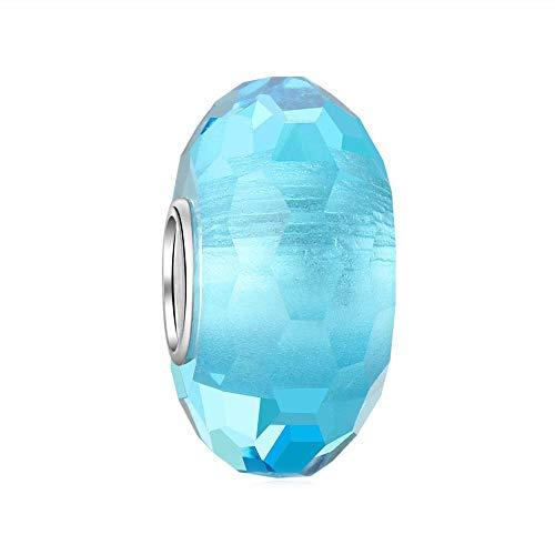 Andante-Stones Abalorio de plata de ley 925 con cristales de Murano facetados, color turquesa para pulseras europeas + bolsita de organza