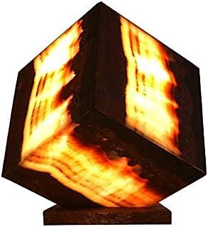 """Lampada a cubo 20cmx20cm in marmo di onice """"Vino"""""""