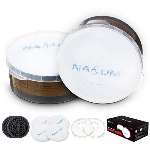 NASUM Filter gegen Partikel und Organische Dämpfe, Filterbaumwolle (2 Paar/ 4 Stück) + Filterdeckel + Filter (1 Paar/2 Stück)