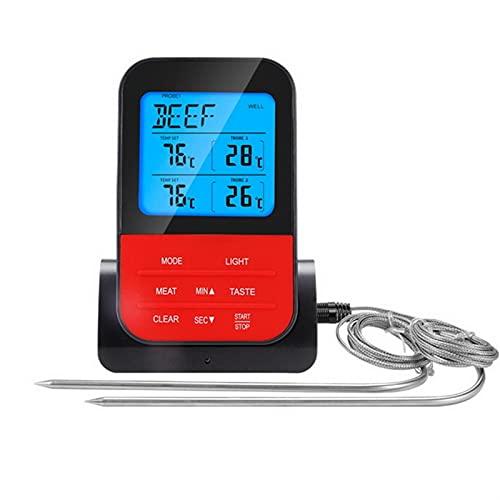 Lixiaonmkop Drahtloser wasserdichter BBQ-Thermometer digitales Kochen von Fleischkost-Ofen-Thermometer mit Timer (Color : Black)