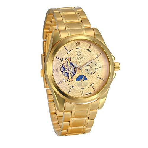 JewelryWe Herren Armbanduhr Automatikuhr Edelstahl Automatik Mechanische Analog Tourbillon Uhren, Gold