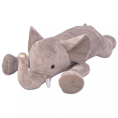Festnight Elefant Kuscheltier Plüschtier XXL 120 cm Plüsch-Elefante Kinder Spielzeug Geschenk für Baby Kinder - Grau
