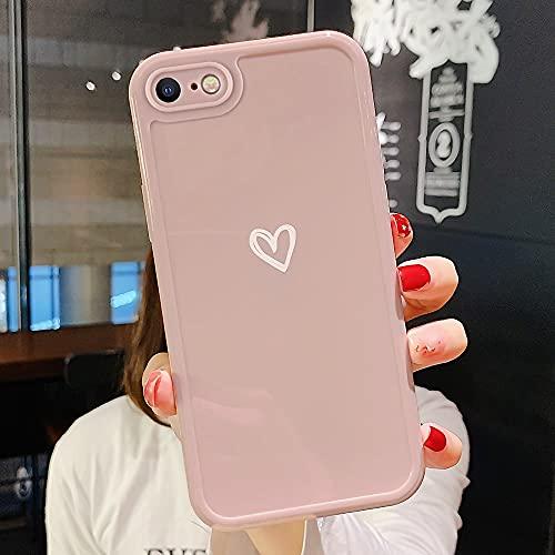 ROSEHUI Hülle Kompatibel mit iPhone 7,iPhone 8 Handyhülle Mädchen Cute Silikon Case Cover Herz Design Ultradünn Stoßfest Weich TPU Bumper Schutzhülle für Apple iPhone SE2020,Rosa