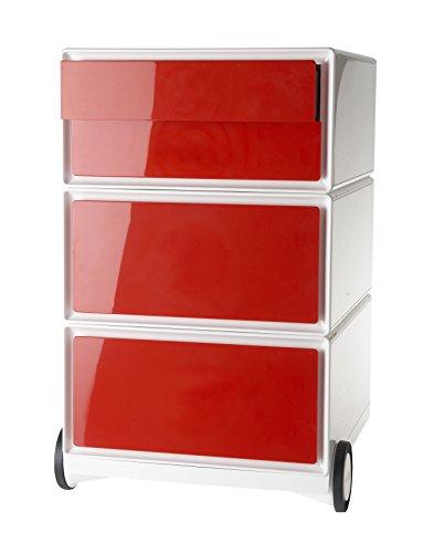 Paperflow tragbarer Schubladenschrank Easybox 4 Stirnschubladenschrank Abs Brillante rot