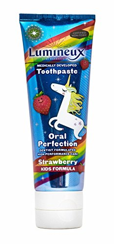 Lumineux Oral Essentials Kids Toothpaste Fluoride Free | Certified Non Toxic | Strawberry Unicorn | NO Artificial Flavors, Colors, SLS Free | Dentist Formulated No Harsh Chemicals
