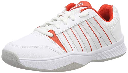 K-Swiss Performance Mädchen Court Smash Carpet M Tennisschuhe, Weiß (White/White/Fiesta, 2 000070586), 34 EU