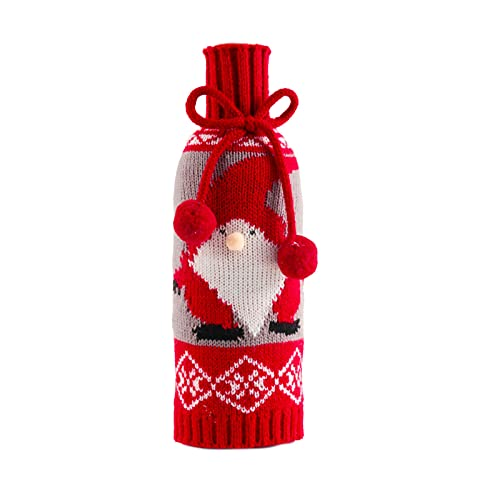 Lindo botella de vino cubierta de Navidad estilo lavable durable Navidad fiesta decoraciones vino botella suéter para el hogar - Santa Claus
