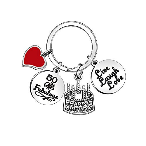 Women Men Birthday Gift Lettering Key Chain Ring Charms for 10th 13th 16th 18th 21st 30th 40th 50th 60th (50th)