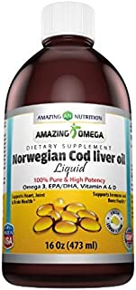 Amazing Omega Norwegian Cod Liver Oil 16 Oz 473 Ml Fresh Lemon - Purest & Best Quality Cod liver Oil, Extracted Under Strict Quality Standards From Around The Waters of Norway - Rich in Omega-3 Fatty Acids, Vitamin A & Vitamin D - Supports Heart Health, Brain Health, Immune Health, Bone Health & Overall Well-Being