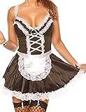 Unibaby Disfraz sexy de doncella para mujer, disfraz de anime, cosplay, delantal de encaje, conjunto de lencería (pequeño – mediano, negro)