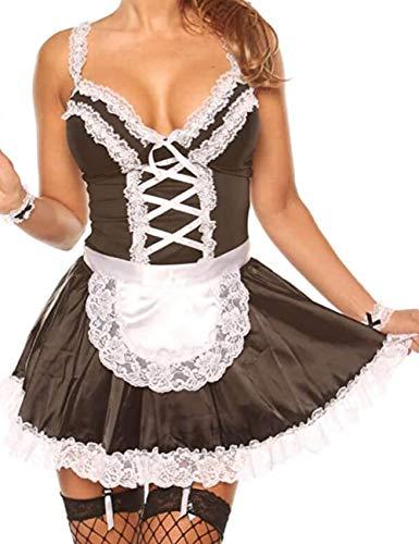 Unibaby Sexy Maid Kostüm für Frauen Anime Cosplay Outfits Schürze Spitze Dessous Set (Schwarz, S-M)