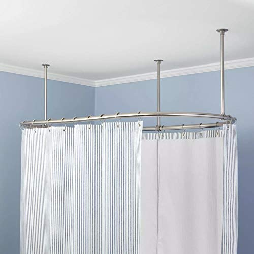 Naiture Stainless Steel Oval Shower Curtain Rod with Ceiling Support in 60