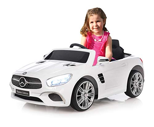 RC Kinderauto kaufen Kinderauto Bild 1: Jamara 460438 Ride-on Mercedes-Benz SL 400 12V – 2 Leistungsstarke Antriebsmotoren und Akku für Lange Fahrzeit, Micro-SD-Slot, AUX-/USB-Anschluss, LED-Scheinwerfer, Ultra-Grip Gummiring, weiß*