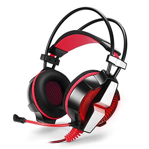 Gaming-headset op de kop, verlichte gaming-headset met draaibare microfoon voor geluidsreductie, voor PS4, Nintendo Switch, Xbox One, PC, size, rood