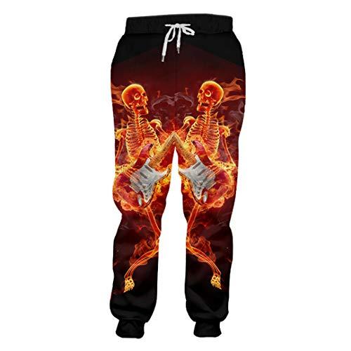 KIUYMRV Mann Persönlichkeit Tanz Geige Schädel Sweatpants 3D Gedruckt Hip Hop Herren Hosen Lustige Harajuku Pants Gr. XL, Violin Skulls