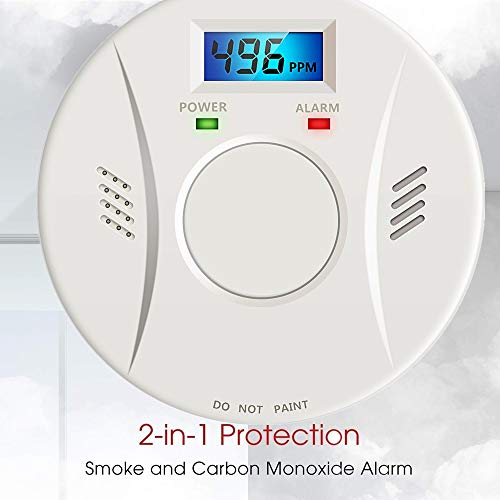 Combination Smoke and Carbon Monoxide Detector Alarm Battery Operated Digital Display for Travel Home Bedroom and Kitchen